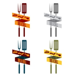 bbq and grill restaurant vintage banner set vector image