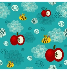 Bee and apple seamless texture vector
