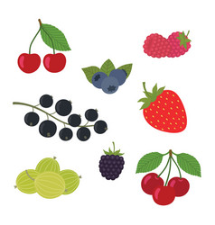 Berries set strawberry vector