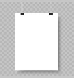 blank paper sheet hanging on binders advertising vector image