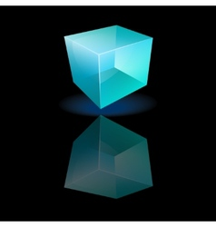 Blue glass cube on a smooth surface vector image