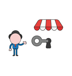 Businessman character lock or unlock keyhole with vector
