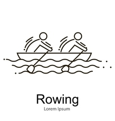 Canoe Rowing Team Icon Set Sporting Competition vector