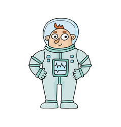 Cartoon astronaut in doodle vector