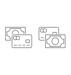 cash and credit card icon linear icon on white vector image