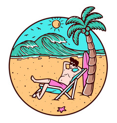 Chilling out on beach vector