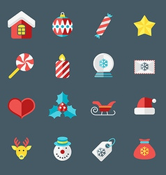 Christmas icons in flat design style for web and vector
