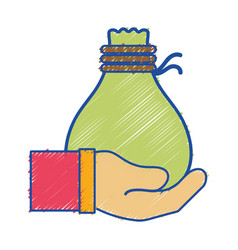 Cloth bag to save things in the hand vector