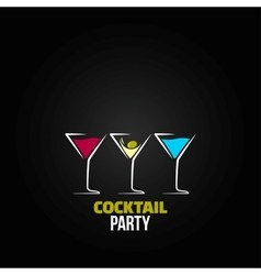 Cocktail party glass design menu background vector