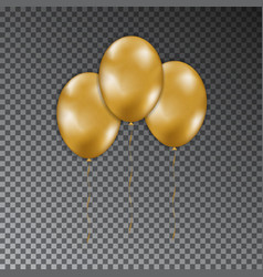 collection of gold shine air balloon with ribbon i vector image
