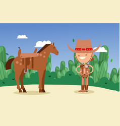 Cowboy sheriff cartoon character with horse wild vector