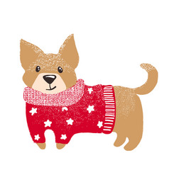 Cute dog in warm winter sweater vector