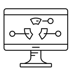 diagram at monitor icon outline style vector image