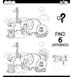 Differences color book with safari animal vector