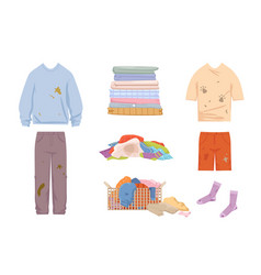 Dirty clothes and mess set grease stained blue vector