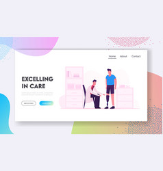 Disabled man recreation in clinic website landing vector