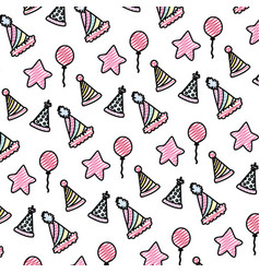 Doodle birthday party celebration and decoration vector