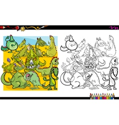 Dragon characters coloring book vector