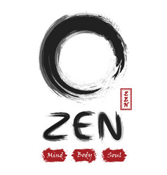 Enso zen circle sumi e design black and gray vector