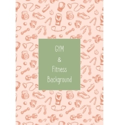 Fitness and gym doodle hand drawn pattern vector