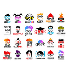Geek logo business badges symbols gamers nerd vector