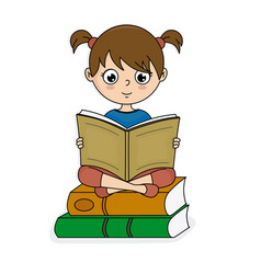 Girl sitting on top of books reading vector