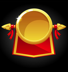 gold round blank template and red flag vector image