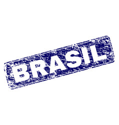 Grunge brasil framed rounded rectangle stamp vector