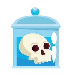 Halloween head skull in bottle vector