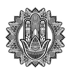 Hamsa talisman religion asian black color graphic vector