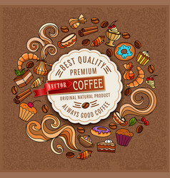 hand-drawn doodles on a coffee theme cups turka vector image