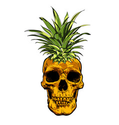 Hand drawn skull fruit pineapple vector