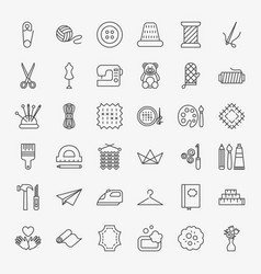 Handmade line icons set vector
