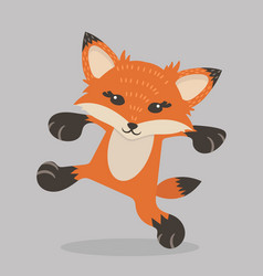 happy young red fox cartoon vector image