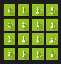 Hookah icons Long Shadow vector