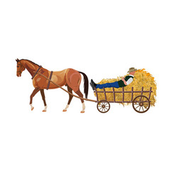 Horse with cart of hay vector
