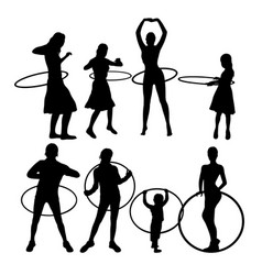 Hula hoop dancer activity silhouettes vector