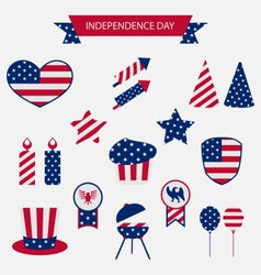 Icons set usa flag color independence day 4th vector