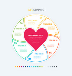 Infographic love template 6 steps design vector