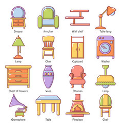 Interior furniture icons set cartoon style vector