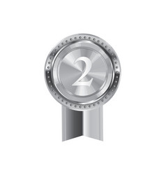Isolated silver award medal ribbon badge vector