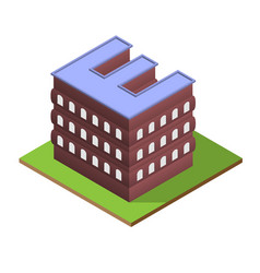 isometric building letter e form vector image