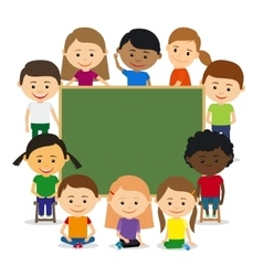 Kids around chalkboard vector