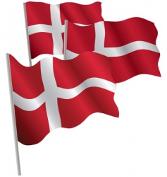 kingdom of denmark 3d flag vector image