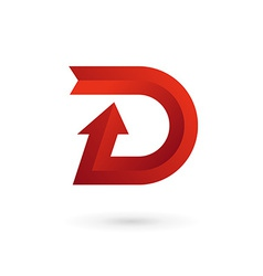 letter d arrow ribbon logo icon design template vector