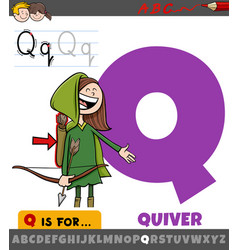Letter q worksheet with cartoon quiver object vector