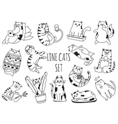 line doodle cats set cute kittens working vector image