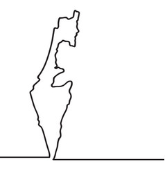 map of israel continous line vector image