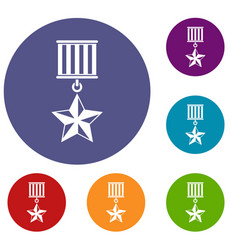 medal star icons set vector image