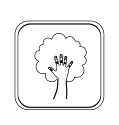 Monochrome square with hand in shape of tree vector